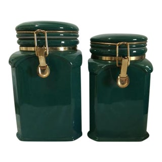 Vintage Canisters With Brass Hardware - A Pair