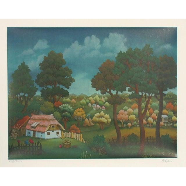 "Ivan Generalic, ""Village Landscape,"" Serigraph - Image 1 of 2"