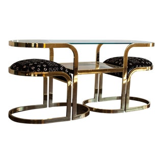 Milo Baughman for Dia Brass Console & Stools