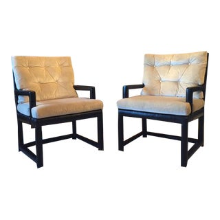 Contemporary Leather & Silk Velvet Arm Chairs - A Pair
