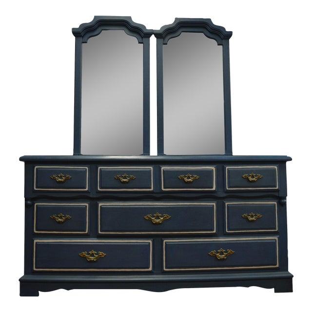 Mirrored 8-Drawer Navy Blue Dresser - Image 1 of 11