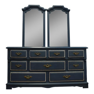 Mirrored 8-Drawer Navy Blue Dresser
