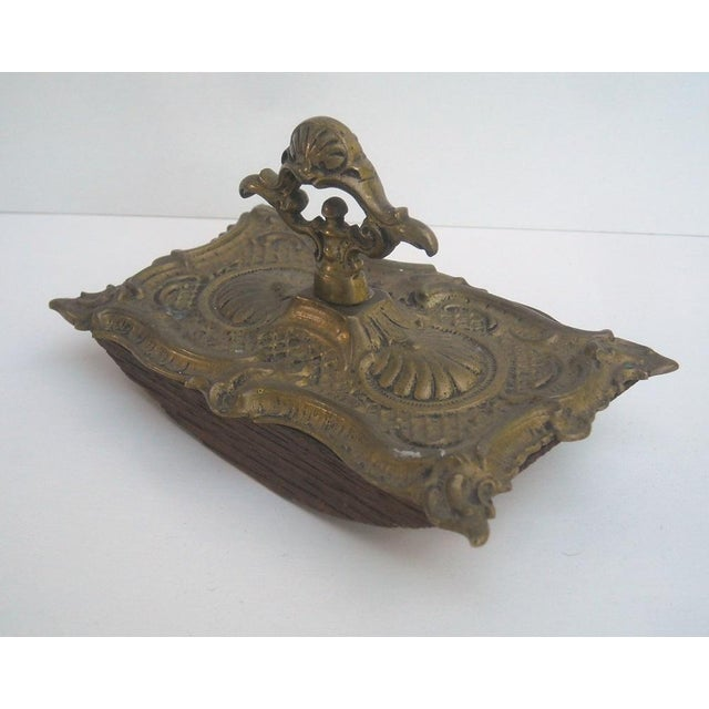 Image of Antique French Ornate Brass Ink Blotter