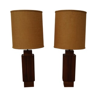 Studio Vintage Walnut Prairie School Lamps - Pair