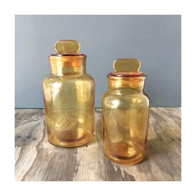 Vintage Amber Glass Storage Jars - A Pair - Image 2 of 4