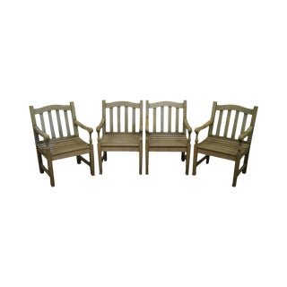 Barlow Tyrie Teak Outdoor Waveney Arm Chairs - Set of 4