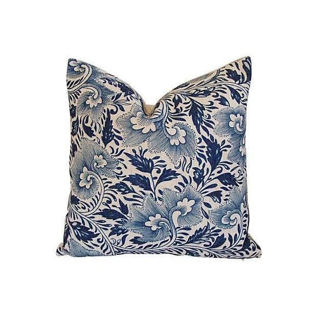 Indigo Blue Floral Linen Pillows - a Pair - Image 6 of 7