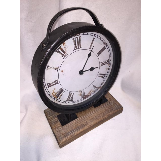Vintage Industrial Barnwood Base Clock - Image 3 of 5