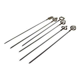 Turkish Brass & Stainless Skewers - Set of 6