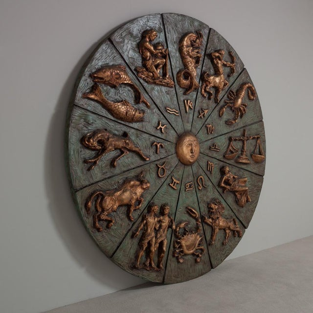 Patinated and Gilt Resin Zodiac Wall Sculpture - Image 2 of 4