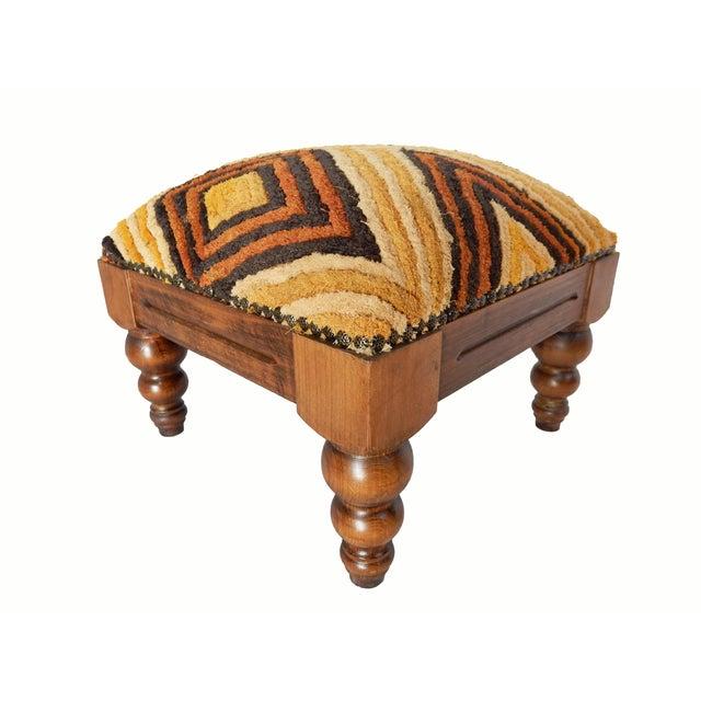 Image of Velvet Kuba Cloth Footstool