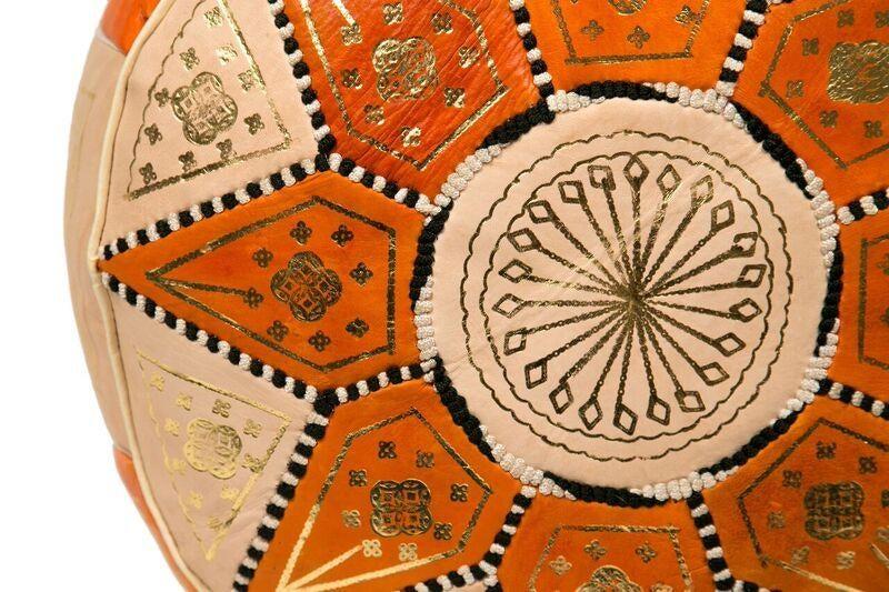 Orange Marrakech Leather Pouf Stuffed Chairish