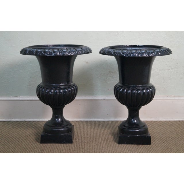 Classic French Style Black Cast Iron Urns (A) - Image 2 of 10