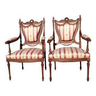 19th Century French Carved Mahogany Dining Arm Chairs - a Pair
