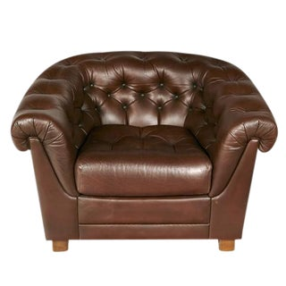 Brown Leather Chesterfield Lounge Chair