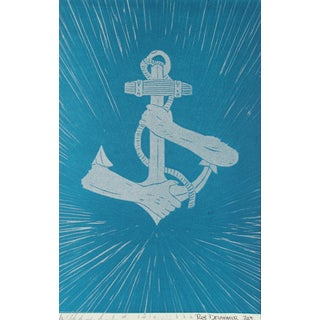 Anchor Linoleum Print by Rob Delamater
