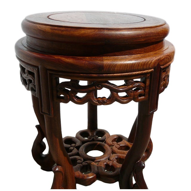 Chinese Huali Rosewood Round Scroll Leg Stool - Image 4 of 5