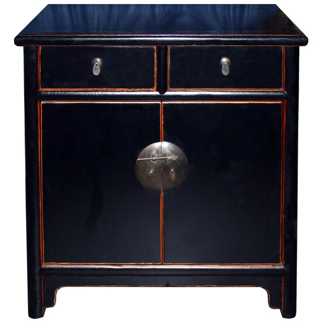 Two-Drawer Black Lacquer Cabinet - Image 1 of 5