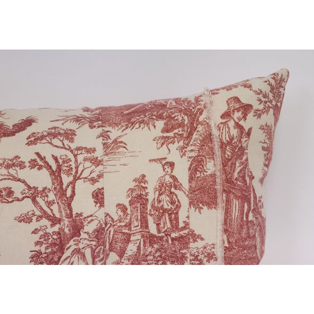 Red & Cream Toile Deconstructed Pillow - Image 5 of 5