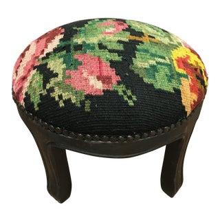 Vintage Black Floral Tapestry Footstool