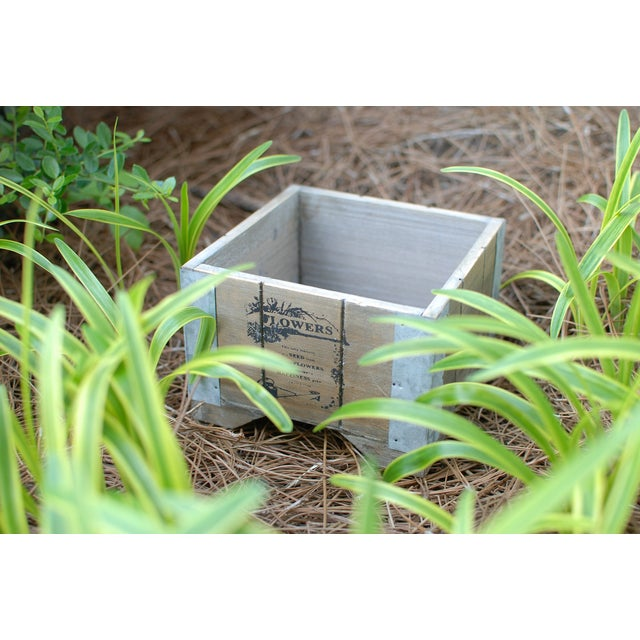 Wooden Country Square Planter - Set of 6 - Image 3 of 4