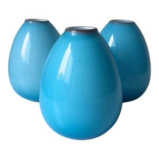 Carlo Moretti Blue Cased Glass Bud Vases - Set of 3
