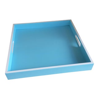 Tiffany Blue & White Square Bamboo Serving Tray