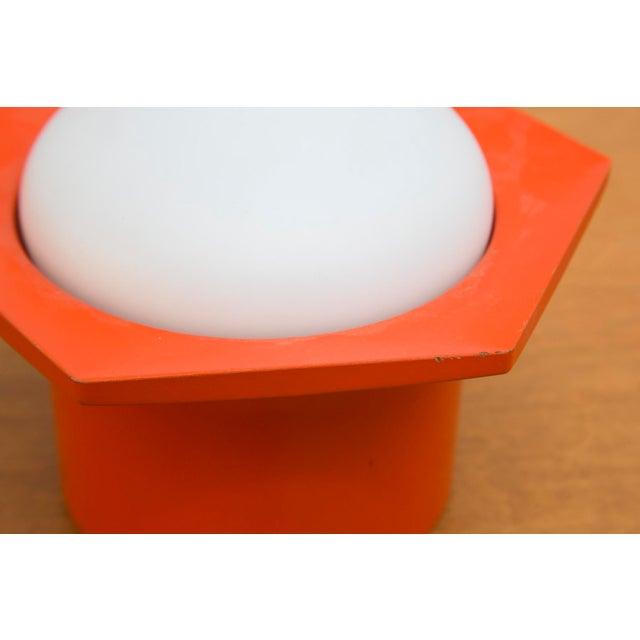 Raak Vintage '70s Hexagon Orange & Milk Glass Lamp - Image 5 of 7