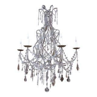 Early 20th Century Beaded and Crystal Chandelier from Italy