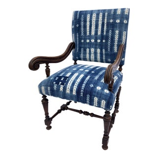 Antique Jacobean-Style Mahogany Mali Indigo Upholstered Armchair