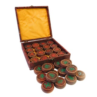 Chinese Rosewood Carved Round Chess Set in Box