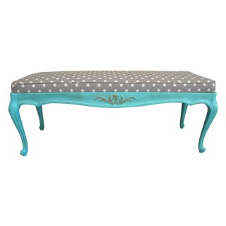 Vintage French-Style Aqua Blue & Grey Dot Bench