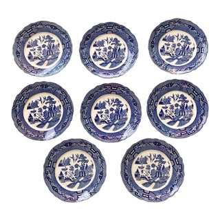 Antique Blue & White English Plates - Set of 8