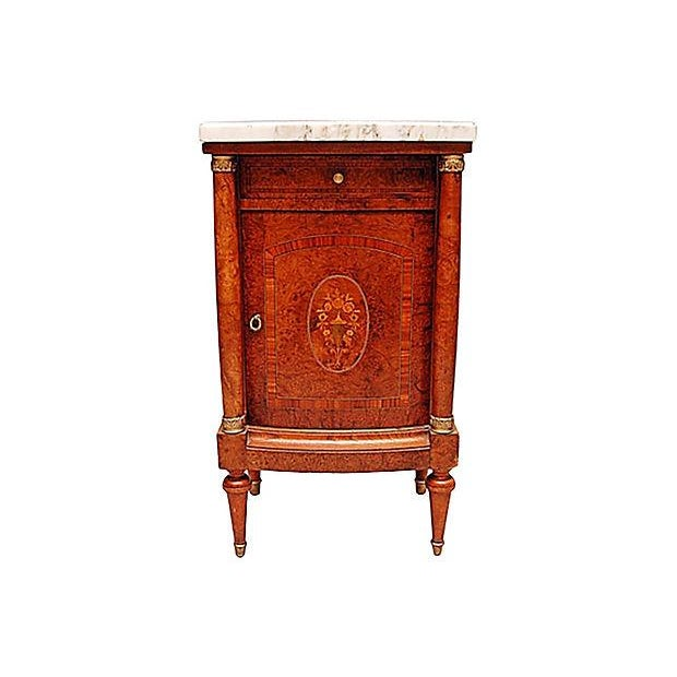 Image of French Neoclassical Burled Mahogany Nightstand