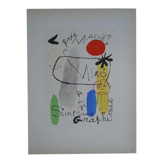 Vintage Mid Century Color Lithograph-Joan Miro-Printed By Mourlot