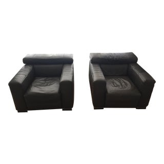 Italian Natuzzi Leather Arm Chairs- A Pair