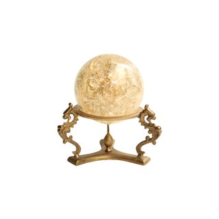 Crackled Gold Lucite Sphere on Brass Stand