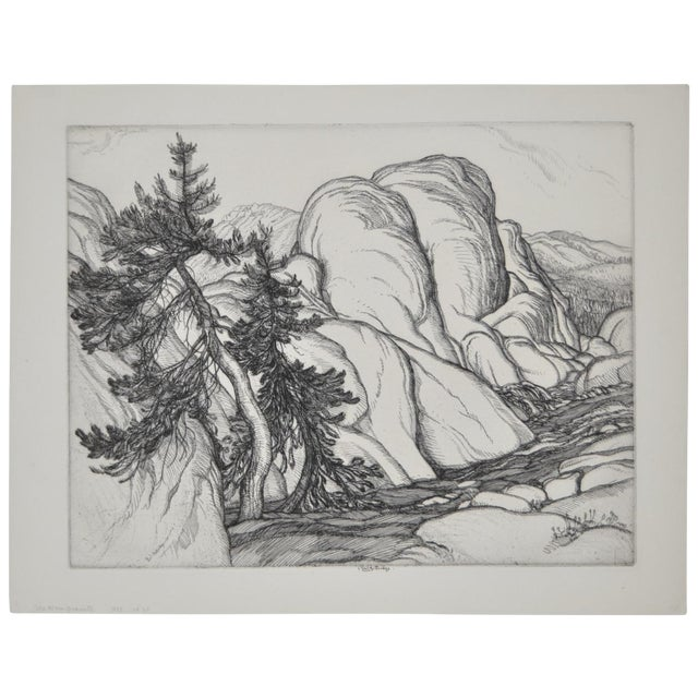 """""""Ice Worn Granite"""" Vintage Etching by Roi Partridge - Image 1 of 6"""