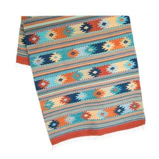 Blue & Orange Handwoven Oaxaca Wool Rug - 4′ × 6′