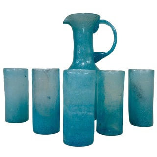 Venini Murano Blue Pulegoso Beverage Set