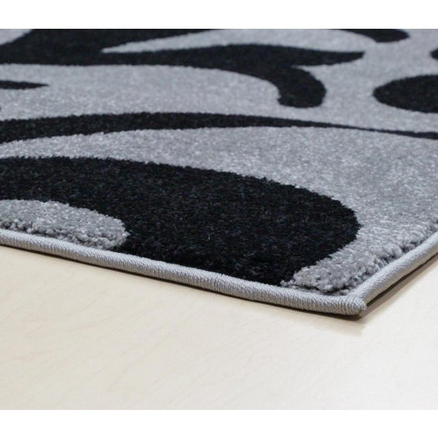 """Transitional Floral Gray & Black Rug - 5'3""""x7'7"""" - Image 4 of 6"""