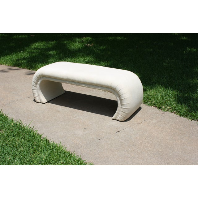Image of Milo Baughman Style Waterfall Upholstered Bench