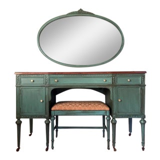 Antique Make-Up Vanity With Mirror and Seat