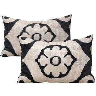 Allary Silk Velvet Ikat Pillows - A Pair