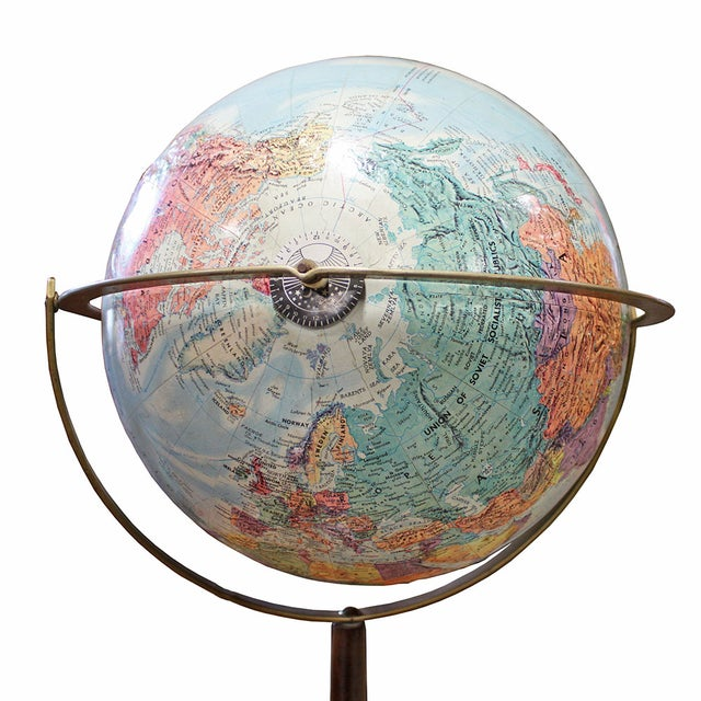 Vintage 1960s Globe on Faux Wood Stand - Image 3 of 3