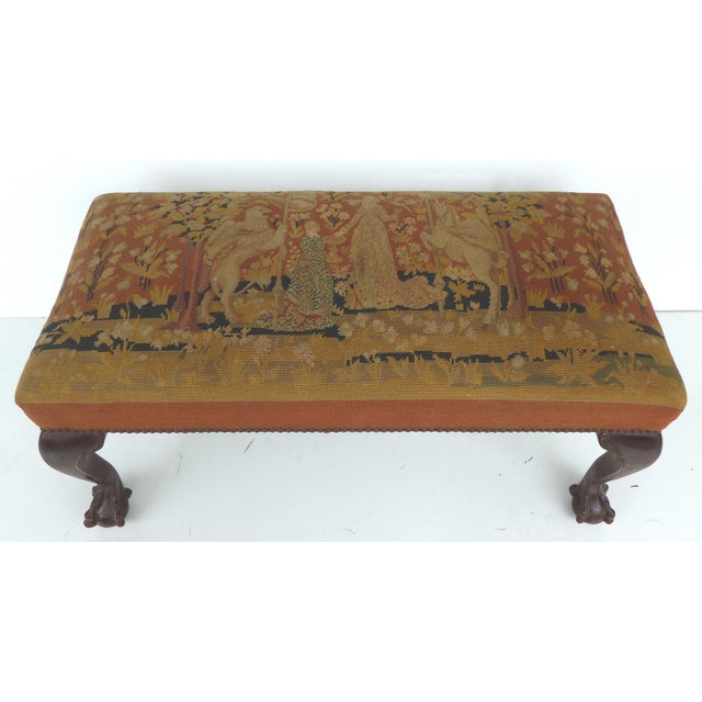 Needlepoint Ball Claw Foot Bench Chairish