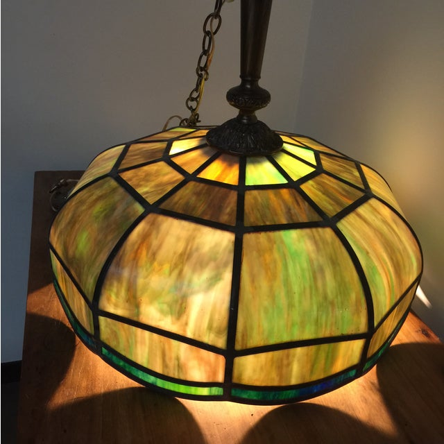 tiffany style stained glass light fixtures a pair chairish. Black Bedroom Furniture Sets. Home Design Ideas