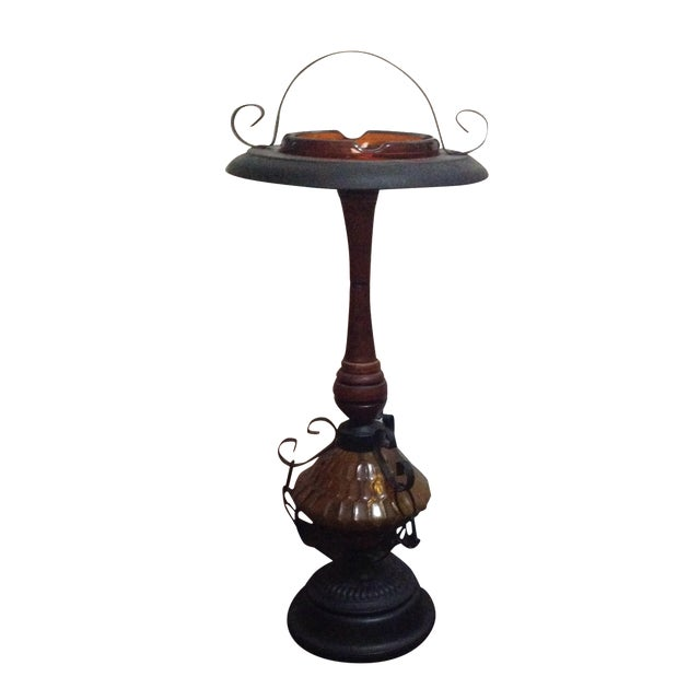 Amber Glass & Cast Iron Smoking Stand - Image 1 of 4