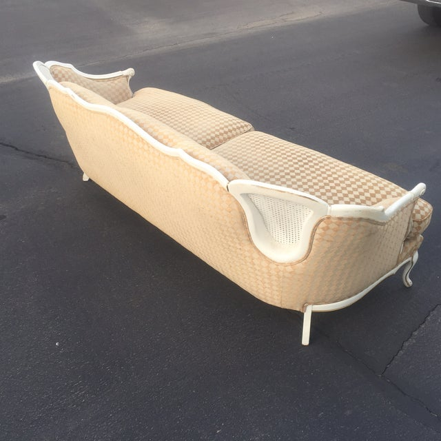 Orange/White French Provencial Cane Back Couch - Image 6 of 8