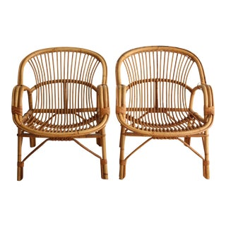 Rattan Bucket Chairs - A Pair